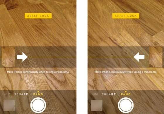 Changer la direction de prise de vue des photos panoramiques