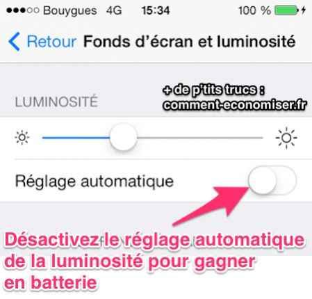 Désactiver le réglage automatique de la luminosité iphone