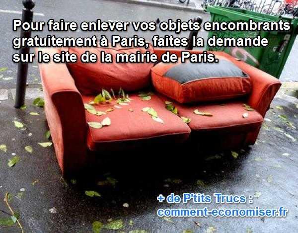faire enlever ses gros objets encombrants à Paris gratuitement