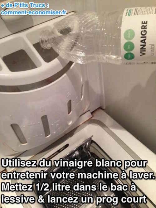 une machine à laver s'entretient avec du vinaigre blanc