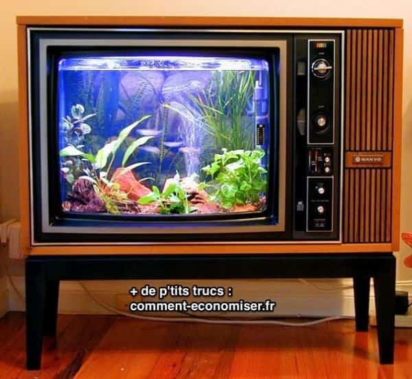 Vieille télé recyclée en aquarium