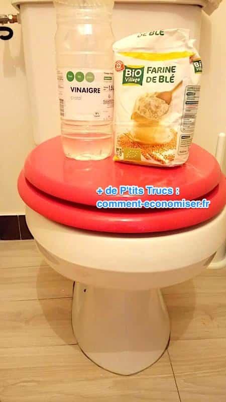détartrer cuvette toilettes sanitaire farine vinaigre