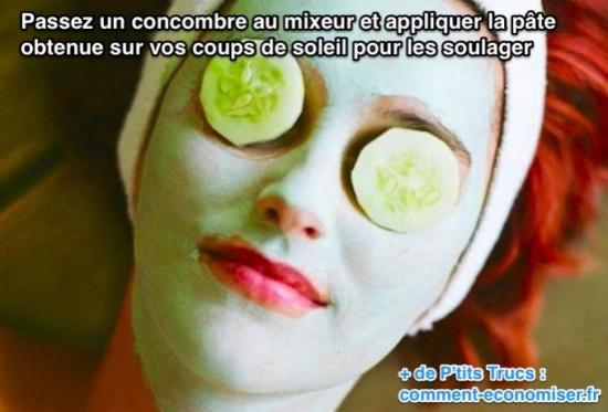 Passez un concombre au mixeur et appliquer la pâte obtenue sur vos coups de soleil pour les soulager