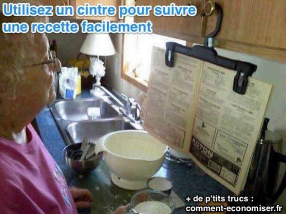 Suivez une recette facilement avec un cintre