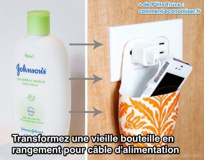 Transformez une vieille bouteille en  rangement pour câble d'alimentation