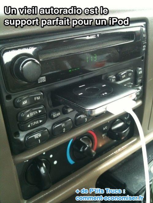 Un vieil autoradio est le  support parfait pour un iPod