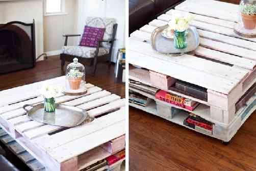 recycler palettes pour déco table de salon