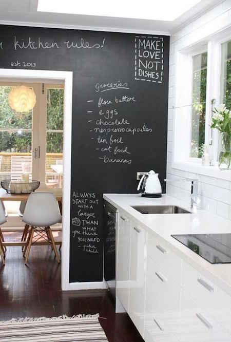 Mettre un tableau noir dans la cuisine pour les listes de courses