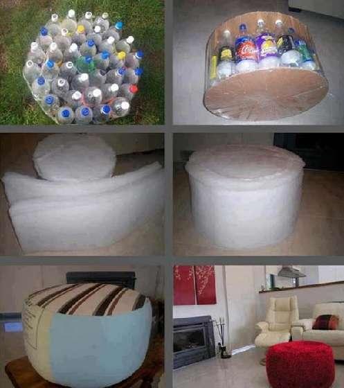 comment fabriquer tabouret pouf avec bouteille recyclée