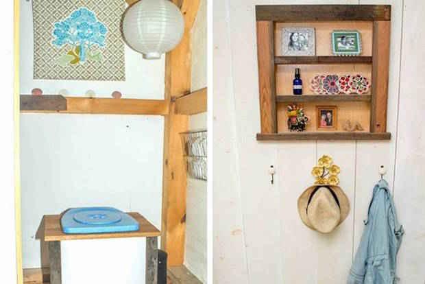 Toilettes sèches dans la tiny house dans les bois