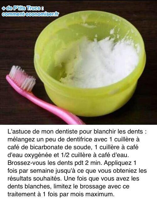 Utilisez du bicarbonate et de l'eau oxygénée pour blanchir les dents