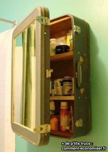 Vieille valise recyclée en armoire à pharmacie