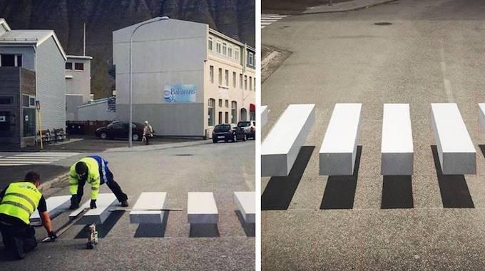 Cette Ville en Islande Peint des Passages Piétons en 3D Pour Faire RALENTIR les Voitures.