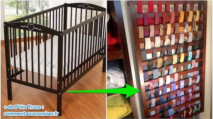 Que Faire du Lit de Bébé Quand Il a Grandi ? L'Astuce Pour Le Recycler En Porte-Cravates.
