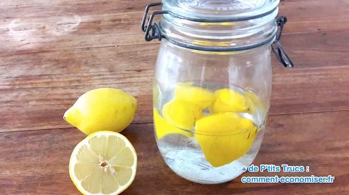 ne jetez plus vos corces de citron utilisez les pour parfumer le vinaigre blanc. Black Bedroom Furniture Sets. Home Design Ideas
