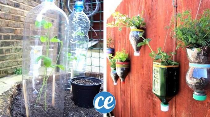 9 fa ons g niales de recycler ses bouteilles en plastique dans le jardin. Black Bedroom Furniture Sets. Home Design Ideas