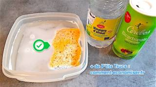 nettoyer une éponge sale avec du vinaigre et bicarbonate