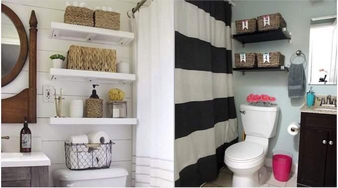 31 astuces de rangements au dessus des wc pour gagner de la place. Black Bedroom Furniture Sets. Home Design Ideas