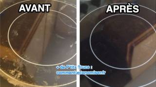 nettoyage plaque à induction très sale avec bicarbonate et vinaigre blanc