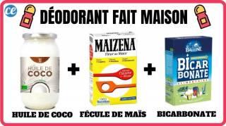 Recette facile du déodorant fait maison : huile de coco + fécule de maïs + bicarbonate.