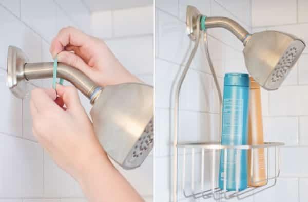 faire tenir panier de douche grâce à élastique