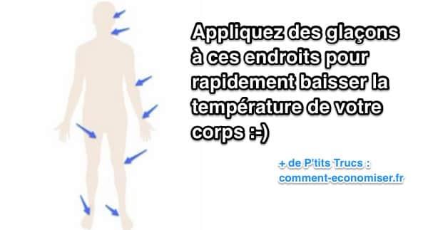 Appliquez glaçons à ces endroits pour baisser température du corps