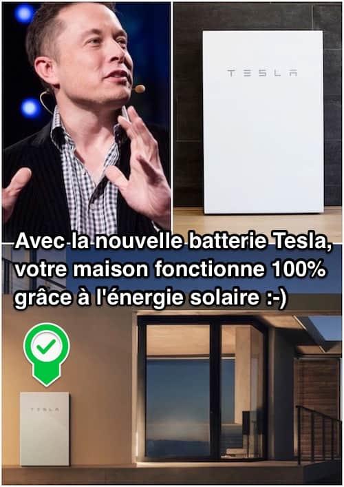 Tesla a inventé Powerwall, une batterie domestique qui permet à votre maison de fonctionner à 100 % énergie solaire.