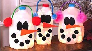 bouteilles lait recyclées en déco noel