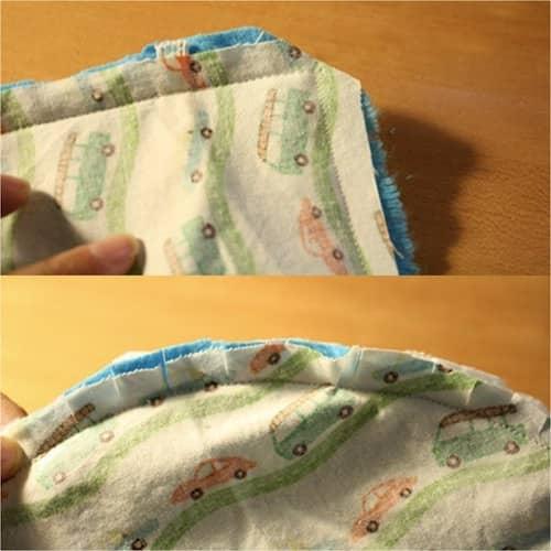 coupez le tissu qui dépasse dans les angles