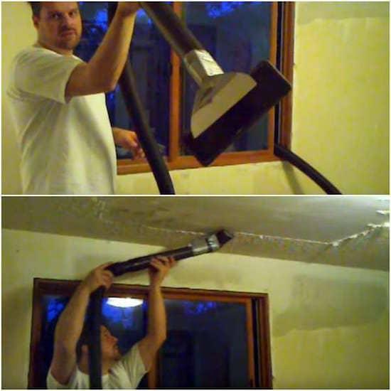 Utilisez l'aspirateur pour décaper facilement la peinture du plafond