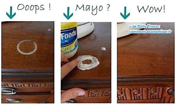 comment enlever une tache d 39 eau sur du bois avec de la mayonnaise. Black Bedroom Furniture Sets. Home Design Ideas