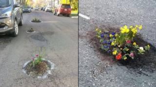 Les habitants plantent des fleurs dans les nids de poule