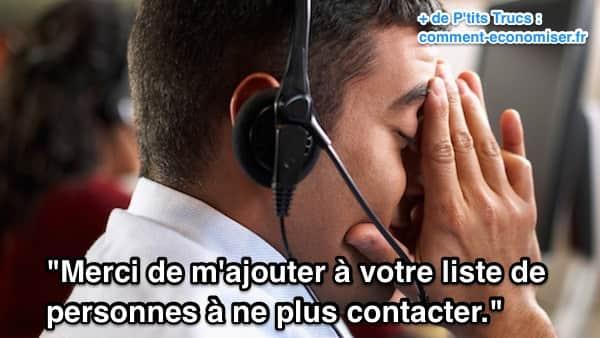Phrase à dire à un démarcheur téléphonique