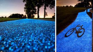 piste cyclable qui brille la nuit