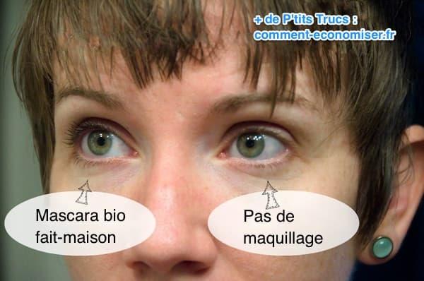 Regardez le résultat du mascara fait-maison, bio et doux pour les yeux.