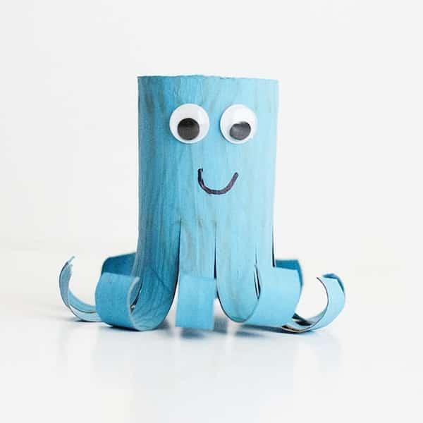 bricolage facile enfant poulpe bleu carton