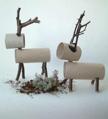 rêne bricolage noel carton et bois
