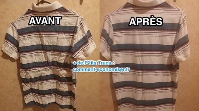 l 39 astuce rapide pour repasser une chemise sans fer repasser. Black Bedroom Furniture Sets. Home Design Ideas