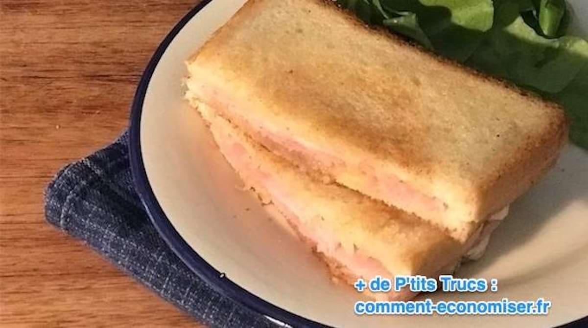 Croque Monsieur A La Poele rapide et super facile à faire : la délicieuse recette du