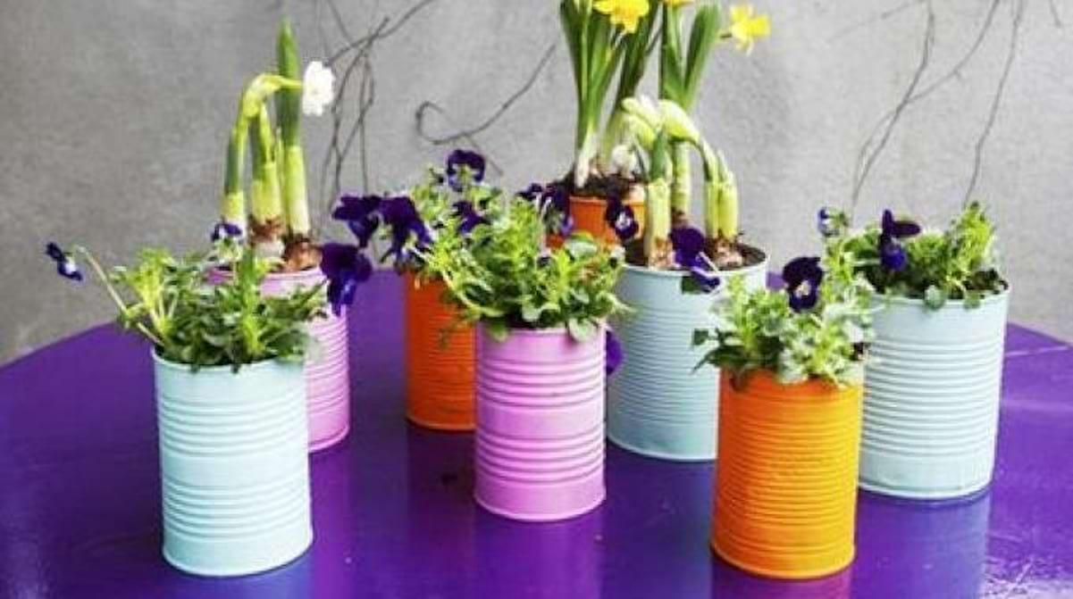 Comment Décorer Des Boites De Conserve mes boites de conserve deviennent des pots de fleurs pour 0 €.